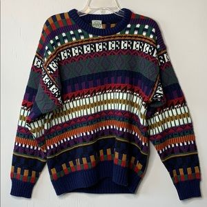 Vintage Oversized Colorful Knit Grandpa Sweater